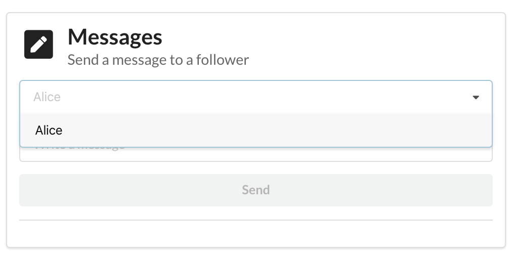 Select a follower from a dropdown list in the create-daml-app